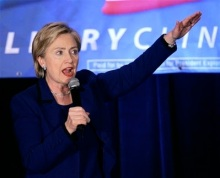 Democratic presidential hopeful, Sen. Hillary Rodham Clinton, D-N.Y., address guests at a fundraising event in Chicago, Tuesday, Dec. 18, 2007. (AP Photo/Charles Rex Arbogast)