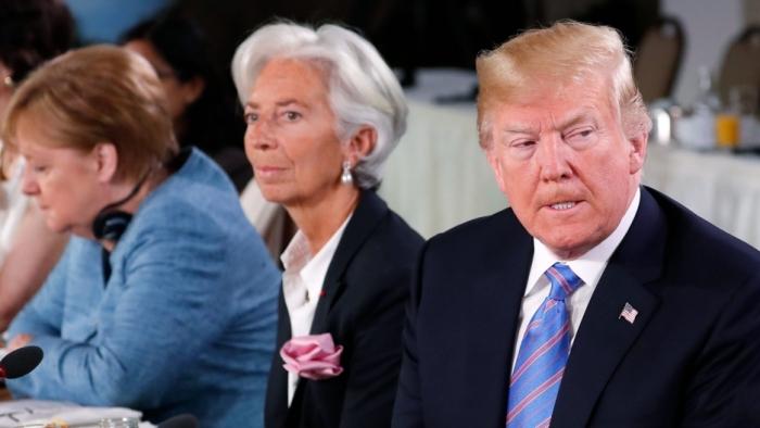 July 2018 Trump Merk. Lagarde (Yves Herman:Reuters)